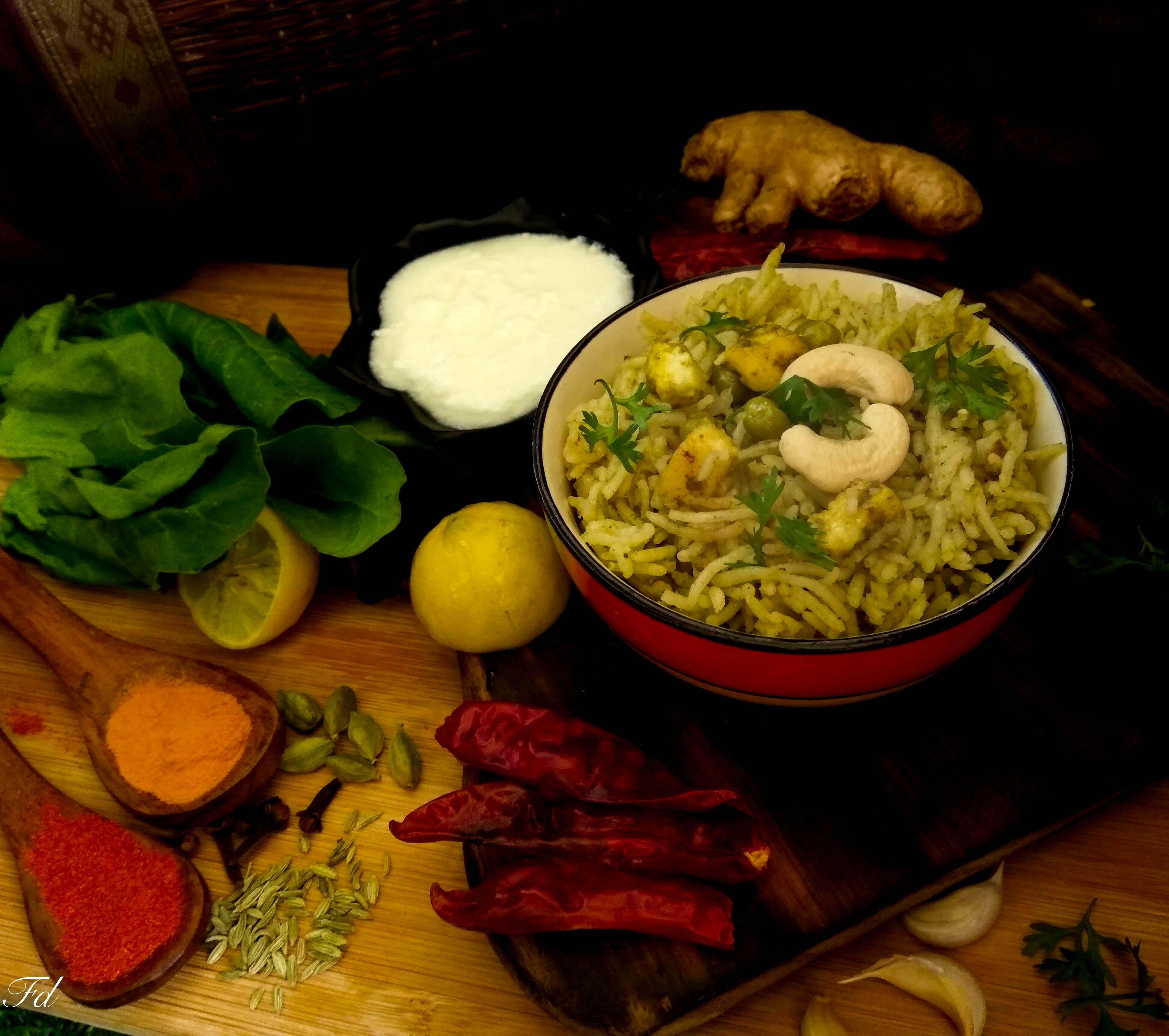 Palak paneer Pulao Recipe/ Rice Recipe